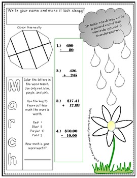 March Morning Work- Second Grade Edition