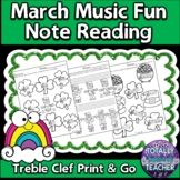 Music Worksheets: March Music Note Reading Fun {Treble Clef}
