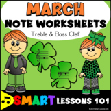 March Music Worksheets: Treble Clef & Bass Clef Note Naming Activities