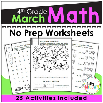 March NO PREP Math Packet - 4th Grade