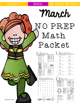 March NO PREP Math Packet - 5th Grade