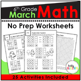 March NO PREP Math Packet - 6th Grade