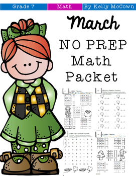 March NO PREP Math Packet - 7th Grade