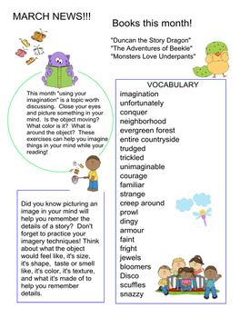 March News with listed books and vocabulary