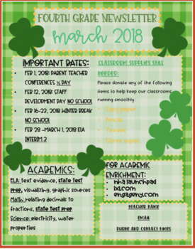 March Newsletter Editable