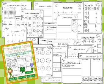 March No Prep Math and Literacy Packet for First Grade (Common Core)