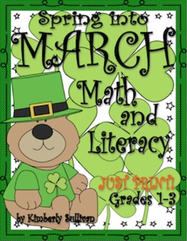 St. Patrick's Day Spring No Prep Printables  Math and Literacy Grades 1-3