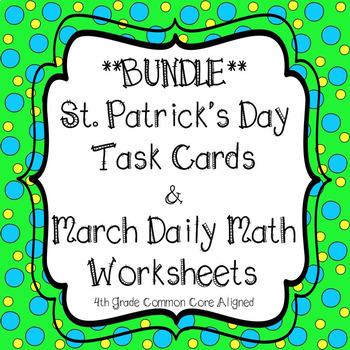 March No Prep Worksheets & St. Patrick's Day math task cards**BUNDLE**