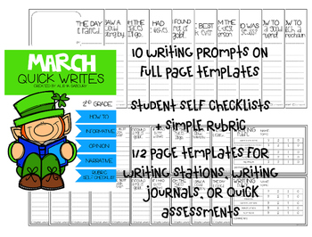 March No Prep Writing and Math Bundle [2nd Grade]