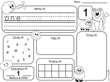 March Number Practice Printables - St Patrick's Day, Kites, Lion & Lamb