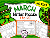 March Number Practice Printables - St Patrick's Day, Kites