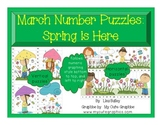 March Number Puzzles:  Spring Themed