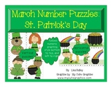 March Number Puzzles:  St. Patrick's Day Themed