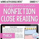 March Nonfiction Close Reading Comprehension - Online/Dist