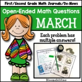 March Open-Ended Math Questions for Journals or Do-Nows (1st/2nd Grade)
