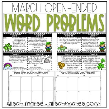 March Open-Ended Word Problems