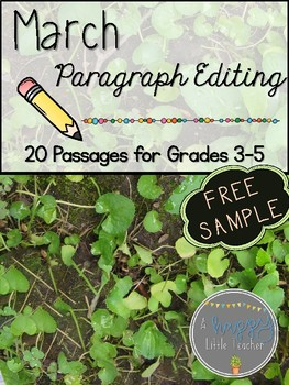 March Paragraph Editing Freebie for Grades 3-5