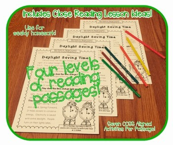 March Passages w/ CCSS Text Based Questions {Weekly Homework:Close Reading}