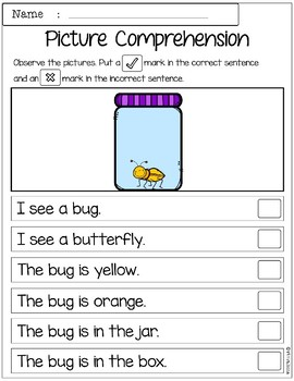 March Picture Comprehension Cards and Worksheets