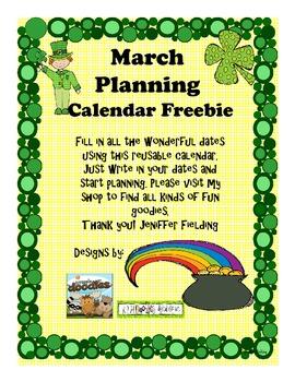 March Planning Calendar Freebie