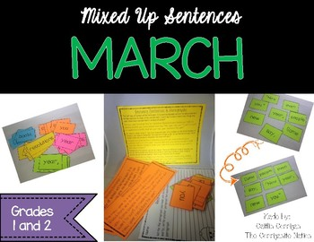 March Mixed Up Sentences - Reading, Writing, and Sentence Building Activities