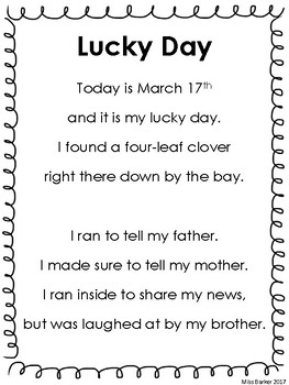 March Poem & Activities - Lucky Day