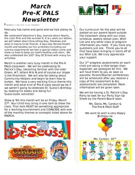 March Pre-K Newsletter