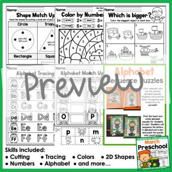 March Preschool Printables