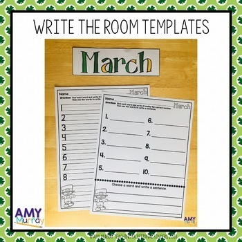 March and St. Patrick's Day themed Writing Prompts and Activities