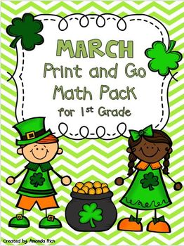 March Print and Go Math Pack for First Grade