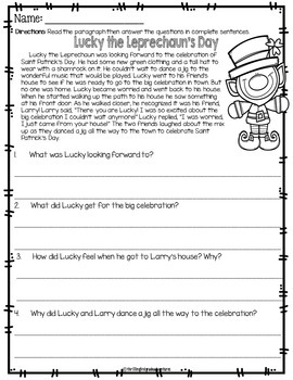 March Print and Go Mini-Reading Passages