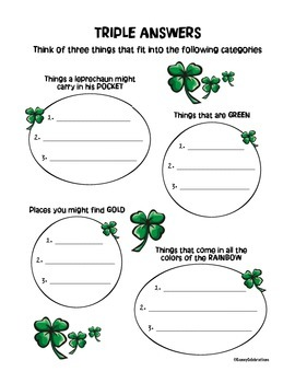 March / St. Patrick's Day Printable Activities Fun Pack