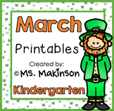 March Printables - Kindergarten Literacy and Math