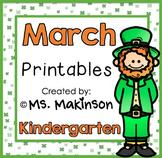 March Printables - Kindergarten Literacy and Math