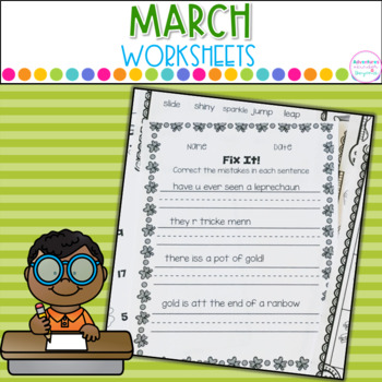 March Printables- Math and Literacy On The Go