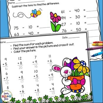 Math Worksheets - First Grade Math Activities for the Whole Month of March