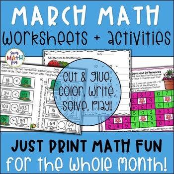 March Math Activities, Math Centers, Printables - No Prep