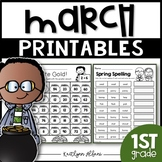 March Printables - Math and Literacy Packet for First Grade