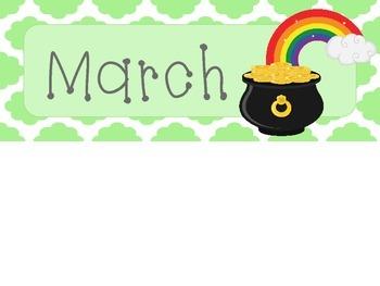 March Quatrefoil Calendar Set