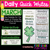 Writing Prompts St. Patrick's Day Activities - March Quick Writes
