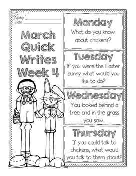 March Quick Writes Freebies