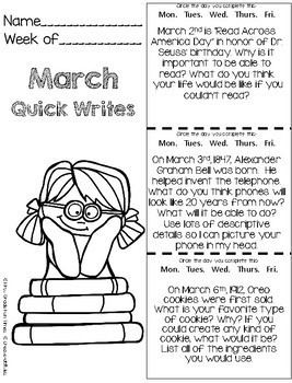 March Quick Writes Writing Prompts for Upper Elementary