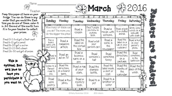 March Reading Activities for the Home FREE!