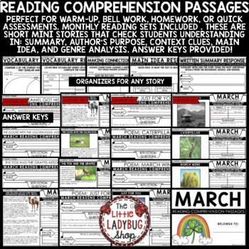 March Reading Comprehension Passages 4th Grade, 3rd Grade & 5th Grade