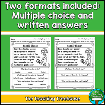 March Reading Comprehension Passages for Kindergarten and First Grade