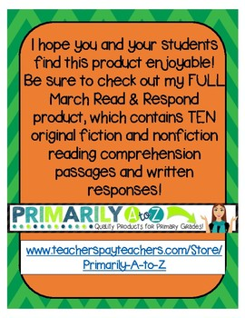 March Reading Comprehension & Written Response FREEBIE {St. Patrick's Day}