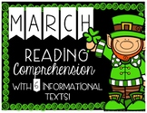 March Reading Comprehension with 6 Informational Texts + Interactive Pages