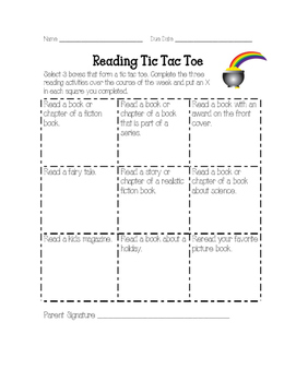 March Reading Homework Tic Tac Toe Reading Log