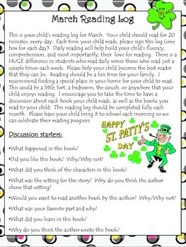 March Reading Log With Discussion Starters