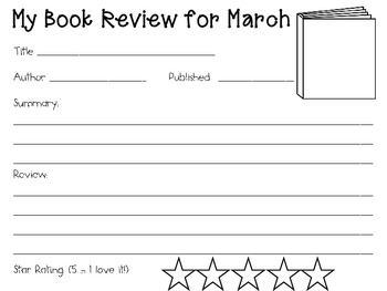 March Reading Log Packet for Intermediate Students